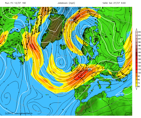 The latest jet stream forecast on Friday, July 12, suggests that the jet will move south over the UK around the 27th