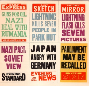 This selection of newspaper bills, produced by Mike Ashworth, shows a media fixated with build up to the start of WW2 while the Daily Sketch and Daily Mirror focused coverage on the horrifying event in Ilford