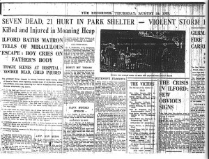 The disaster was reported in the local paper The Recorder three days later