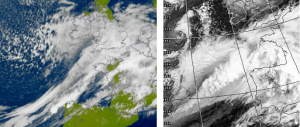 Both the 2013 storm, left, and the 1987 storm followed a similar track as shown on these satellite pictures