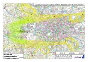 The flightpath taken during an easterly wind diverts flights to the north and south of London