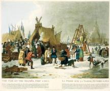 The Frost Fair of 1814 on the River Thames in London. Painting by Luke Clenell, entitled The Fair on the Thames, February 4th 1814