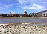 The view across to St Paul's Cathedral from Bankside at low tide by Scott Whitehead