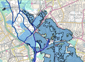 The Environment Agency's Flood Map for Planning shows the flood zone risk of the area. And endorses Howard's account that the river Lea was 'a mile wide' at its peak