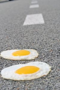 eggs on road