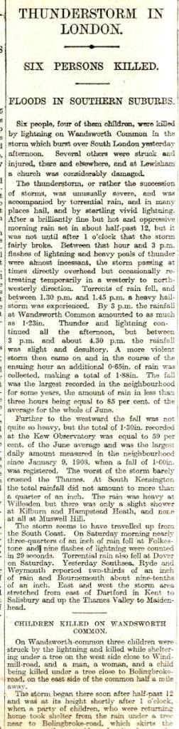 Account of the thunderstorm reported in The Times