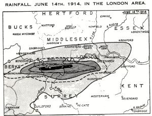 Rainfall in the London area - June 14, 1914 - shown in the publication British Rainfall