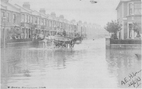 The June 1903 flood at Empress Avenue at the junction of Wanstead Park Road