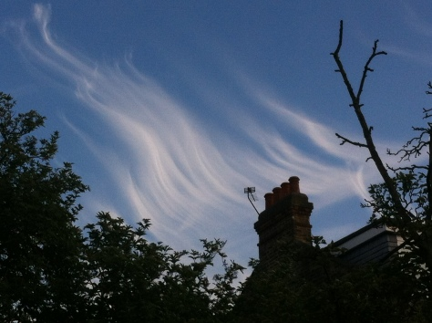 Yet another occasion of impressive cloud formation during June included this example of late evening cirrus. The formation, seen at ground level, seemed similar to a display of the Aurora
