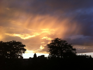 A stunning example of sunlight illuminating the underside of cloud at sunset was seen mid-month