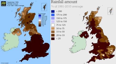 Comparison between 1959 & 2014 UK September Rainfall