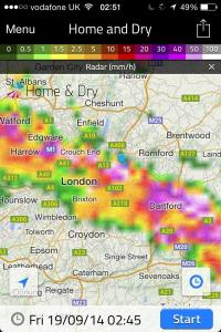 This radar shot shows the storm just beginning to hit Wanstead. The rain was far heavier to our east. 17.2mm was reported at Laindon, Essex. An observer at Woodford Wells recorded 19.9mm her in about 25 minutes 0310-0335 bst