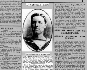 Claude Gould's obituary notice appeared in the October 30th 1914 edition of the Chelmsford Chronicle Image © Local World Limited. Image created courtesy of THE BRITISH LIBRARY BOARD