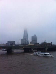 The Shard in fog from Southward Bridge
