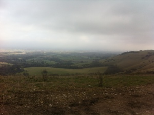 View from top of Ditchling Beacon in Sussex during a  half-term walk