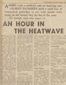 An hour in the heatwave, published in the  Essex Newsman - Friday 30th July 1948