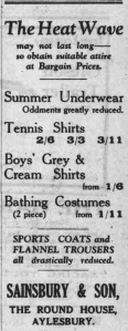 This 'Sainsbury & Son' advert appeared on p7 of The Bucks Herald on Friday, August 19th, 1932