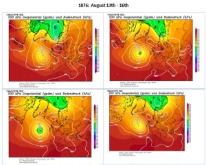 The 500mb renanalysis chart of the heatwave of August 1876