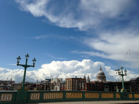 During a very thundery day nationwide on 19th it was bright and sunny looking west on Southwark Bridge at 3.40pm...