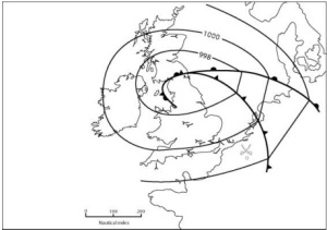 The synoptic chart for 18 June 1815 shows that a low and fronts havecleared the southern Belgian region leaving drier and fresher conditions over the battlefield Image courtesy of Weather, the Royal Meteorological Society magazine and Wiley