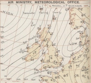 The synoptic chart on November 5th 1934 portrays an unsettled regime