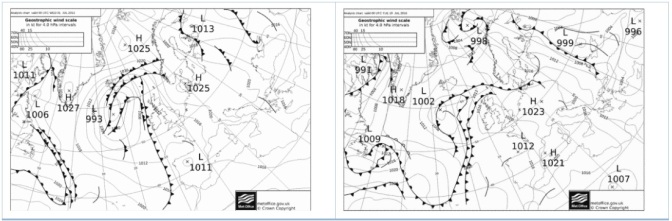 Synoptic similarity: 2 hot days compared
