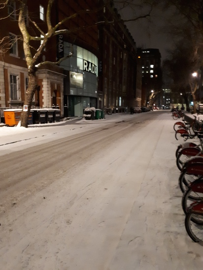 The centre of London was also cold and snowy with the rare sight of compacted snow on roads and pavements