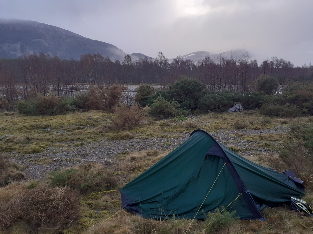 Camping on the banks of the Feshie
